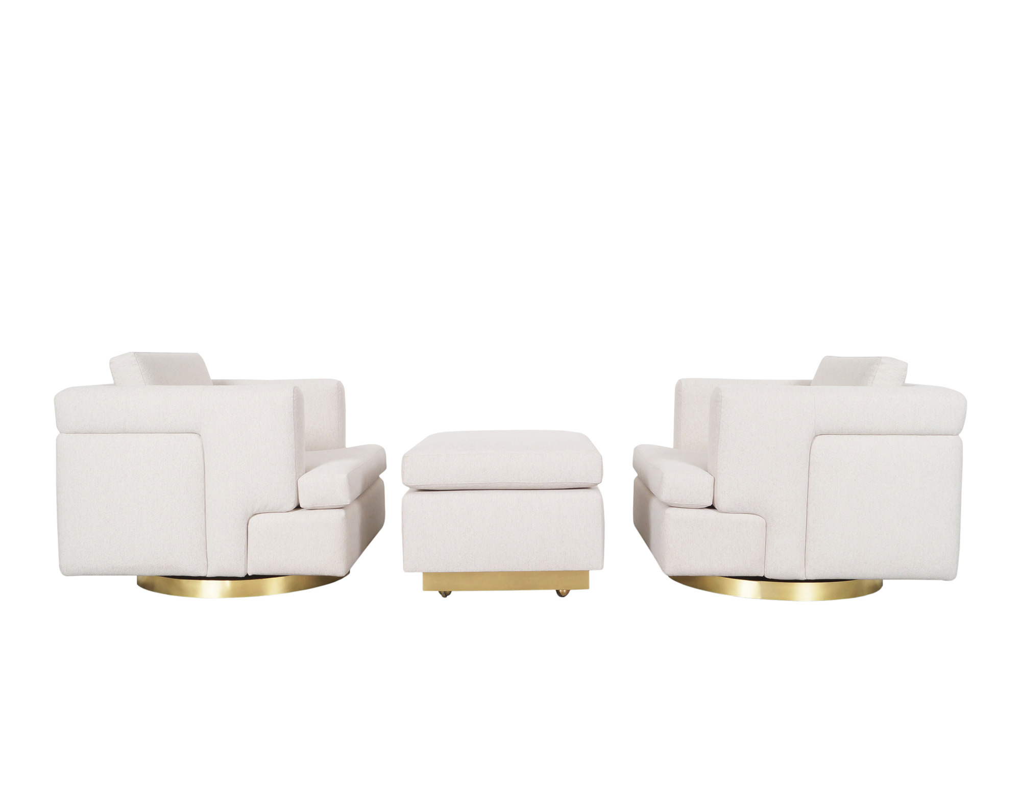 Vintage Brass Swivel Lounge Chairs and Ottoman by Hayes