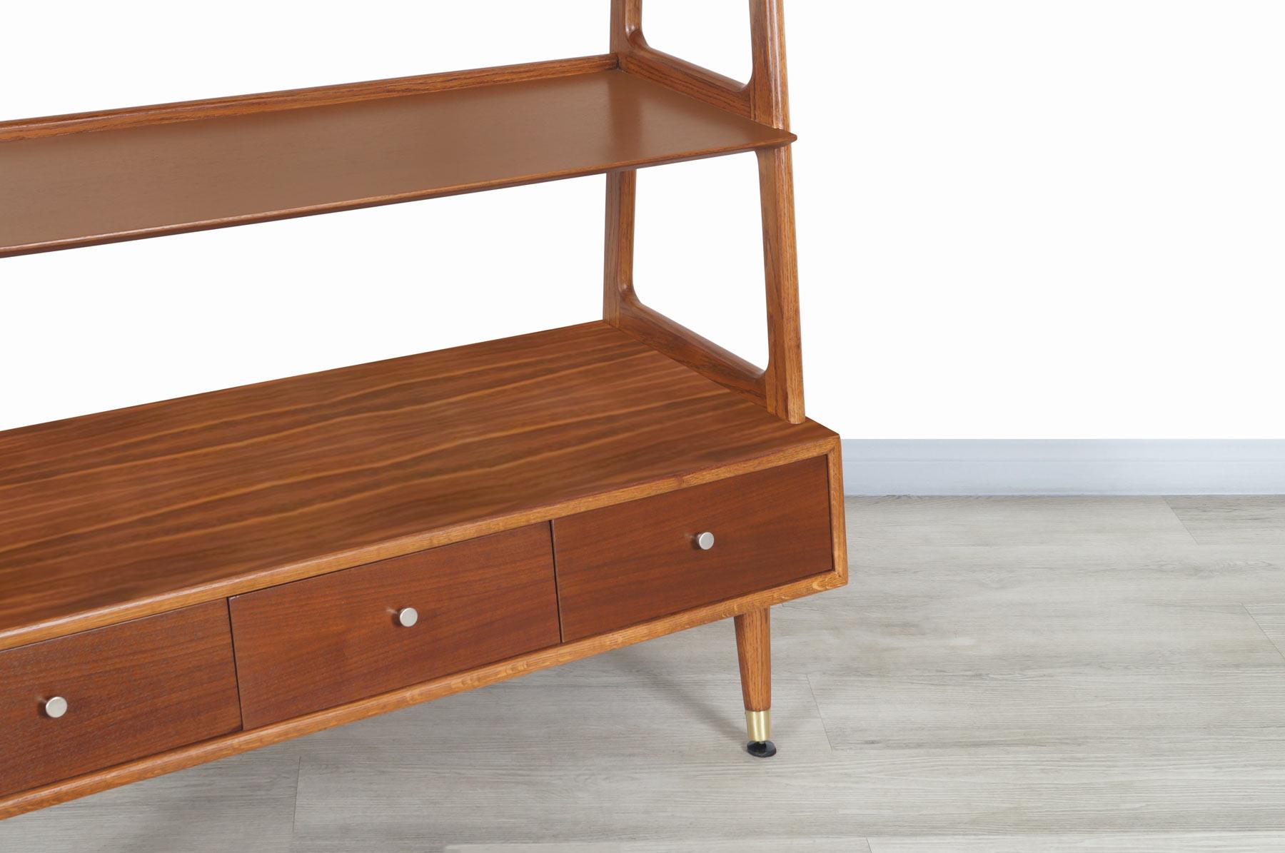 Mid-Century Modern 4-Tier Walnut Bookshelf