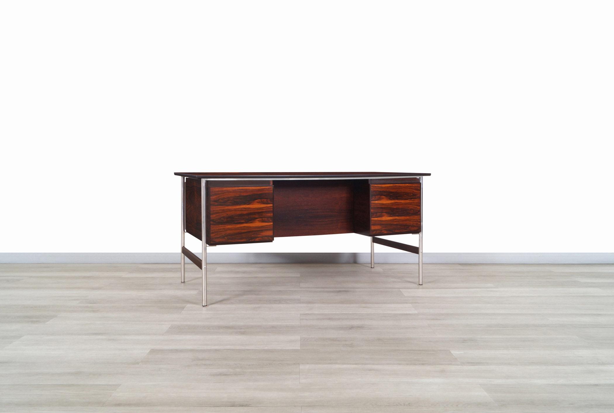 Norwegian Modern Rosewood Desk Attributed to Dokka Møbler