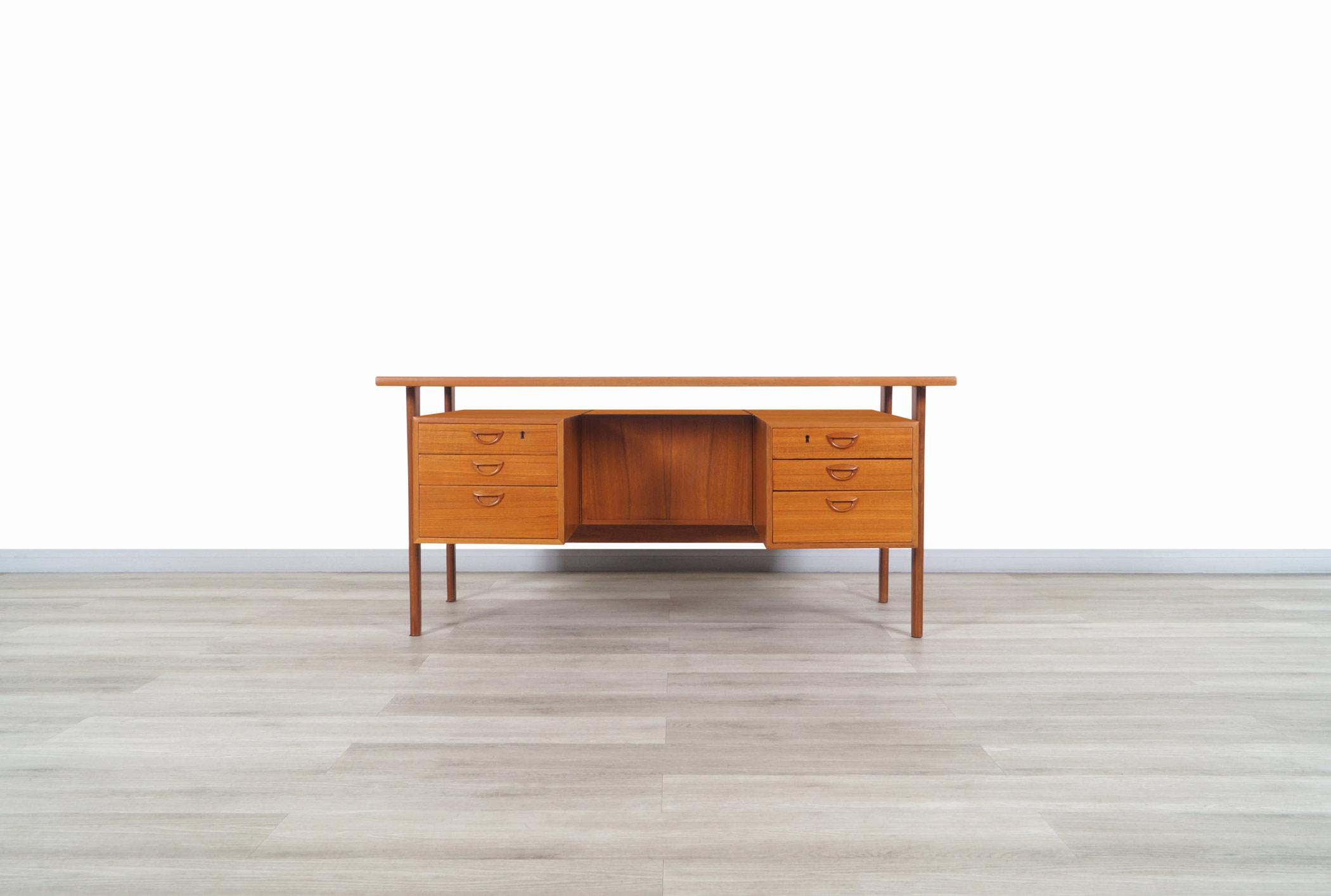 Danish Modern Floating Top Desk by Kai Kristiansen