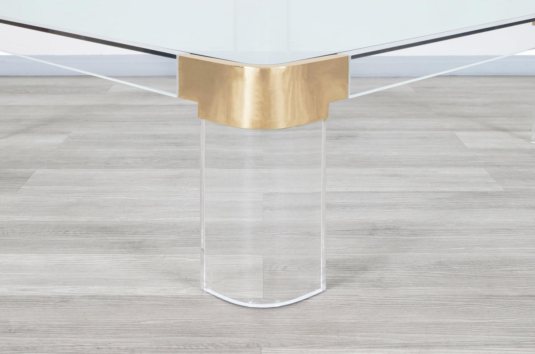 Exceptional Brass and Lucite Coffee Table by Charles Hollis Jones