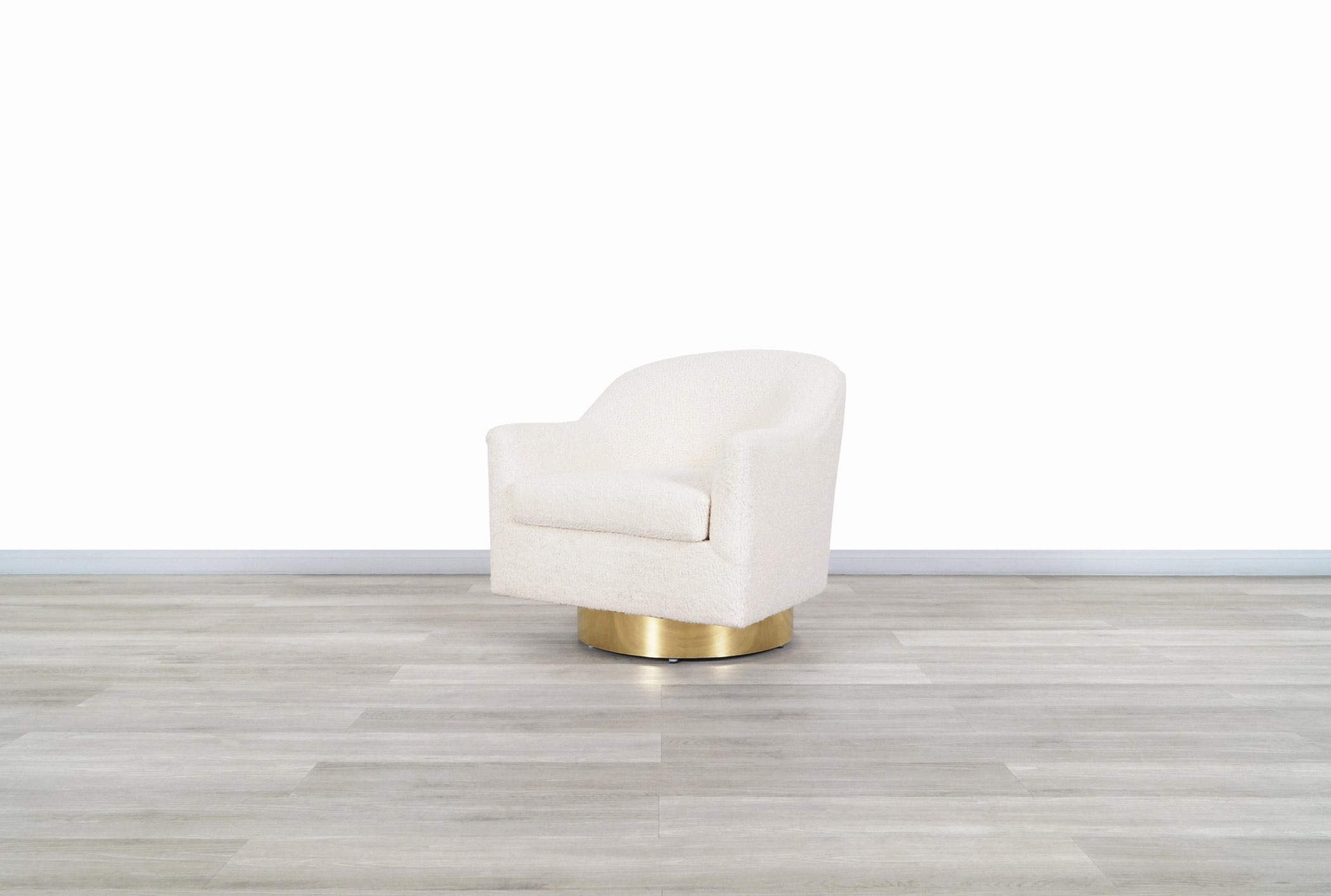 Vintage Brass Swivel Lounge Chair by Milo Baughman for Thayer Coggin