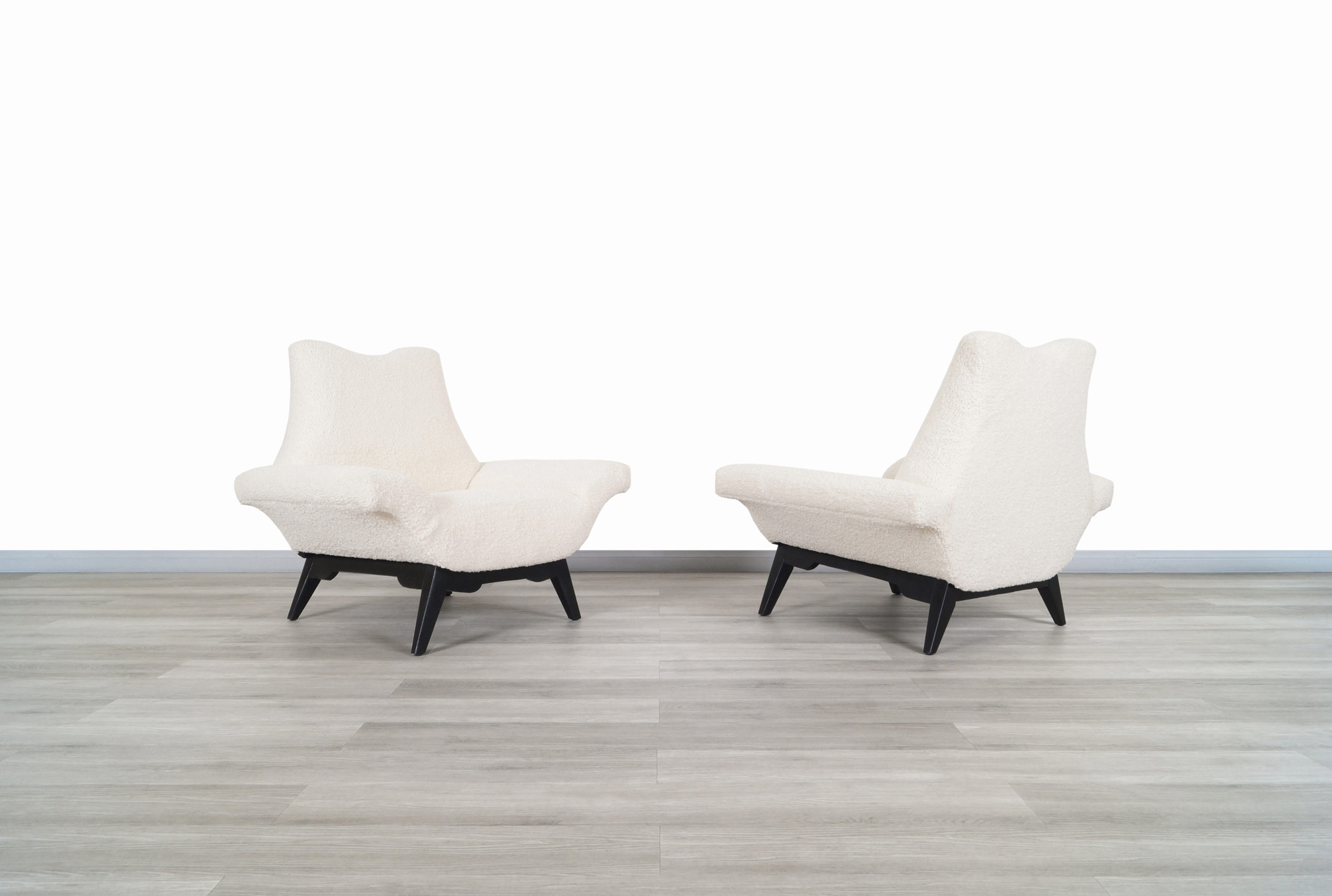Vintage Boucle Stingray Lounge Chairs