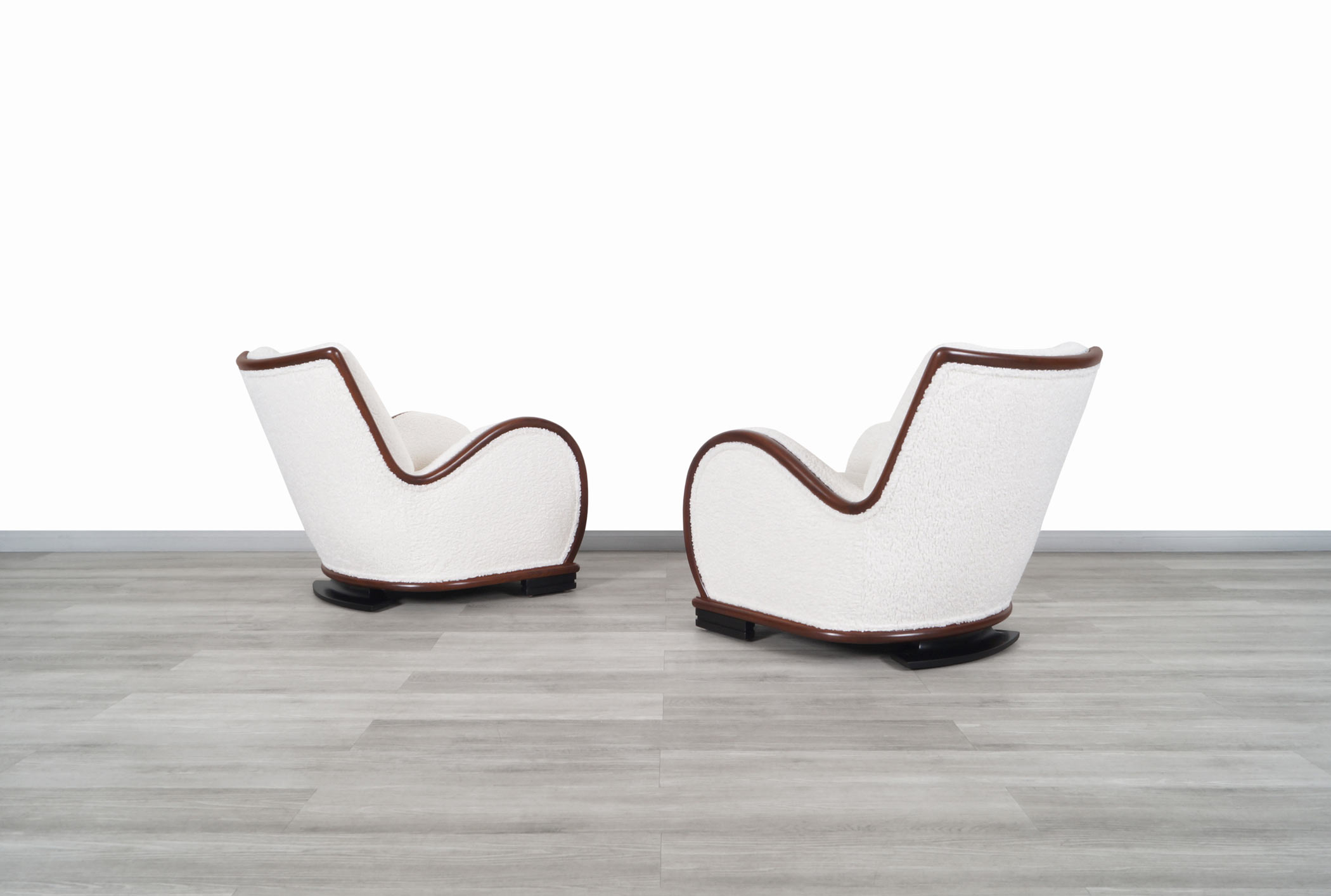 Art Deco Walnut Lounge Chairs in Boucle