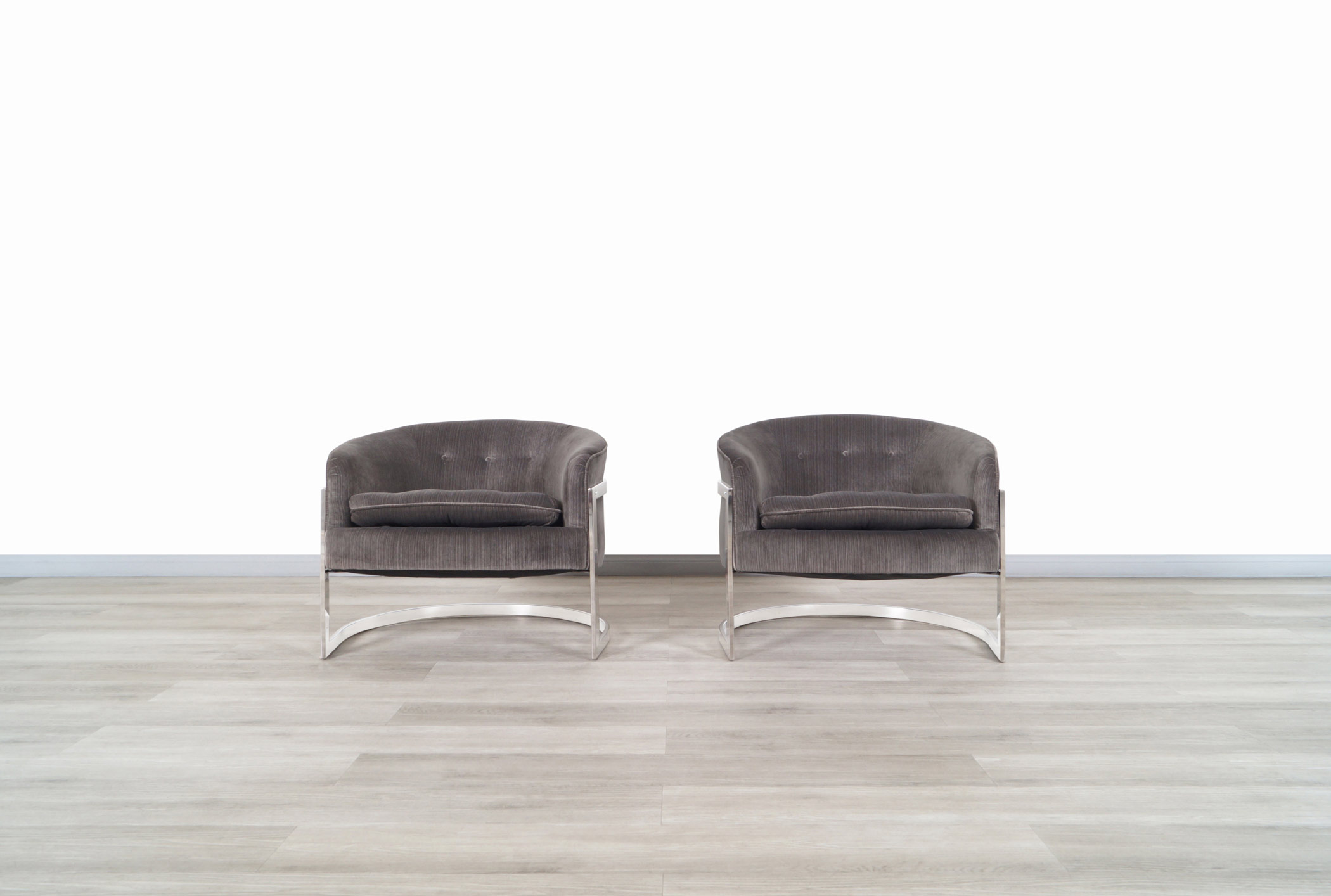 Vintage Chrome Barrel Lounge Chairs Attributed to Milo Baughman