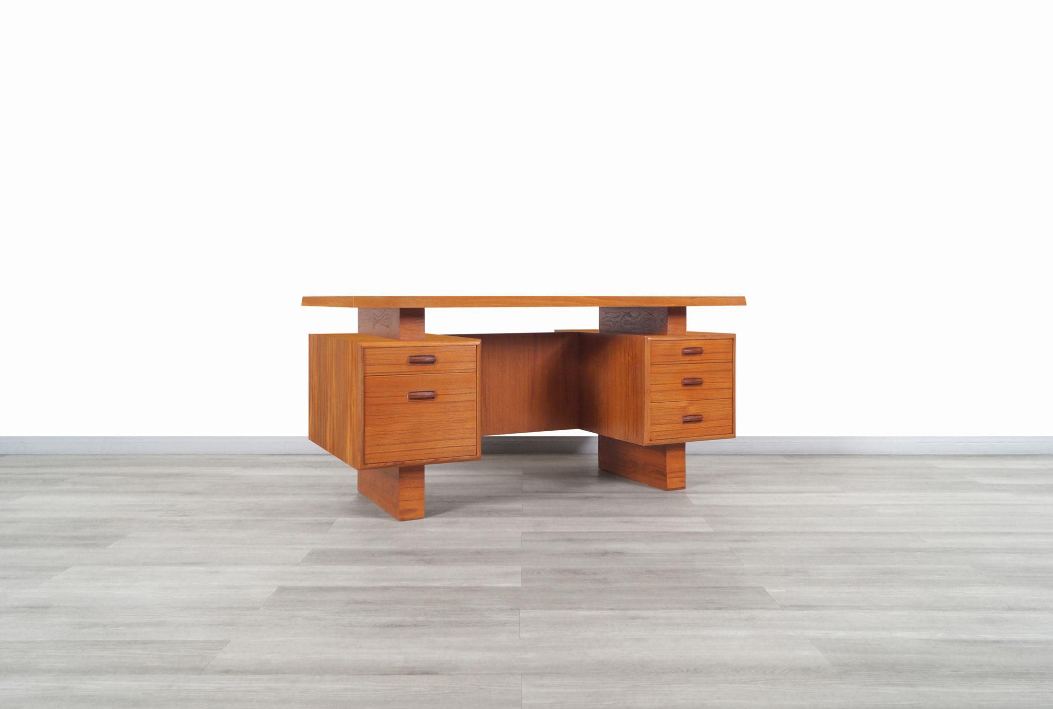 Mid Century Modern Floating Top Teak Desk