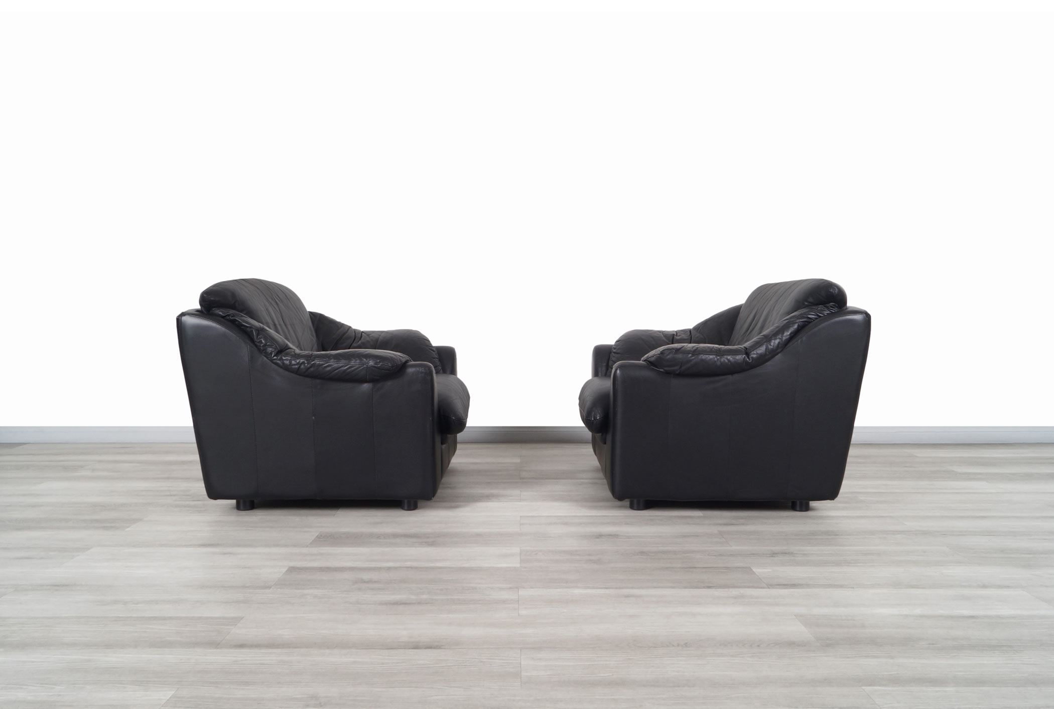 Vintage Italian Leather Lounge Chairs and Ottoman