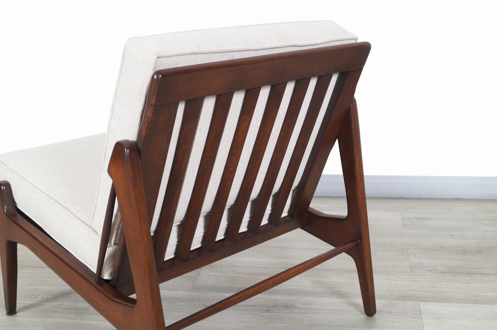 Danish Modern Walnut Slipper Lounge Chairs by Ib Kofod Larsen