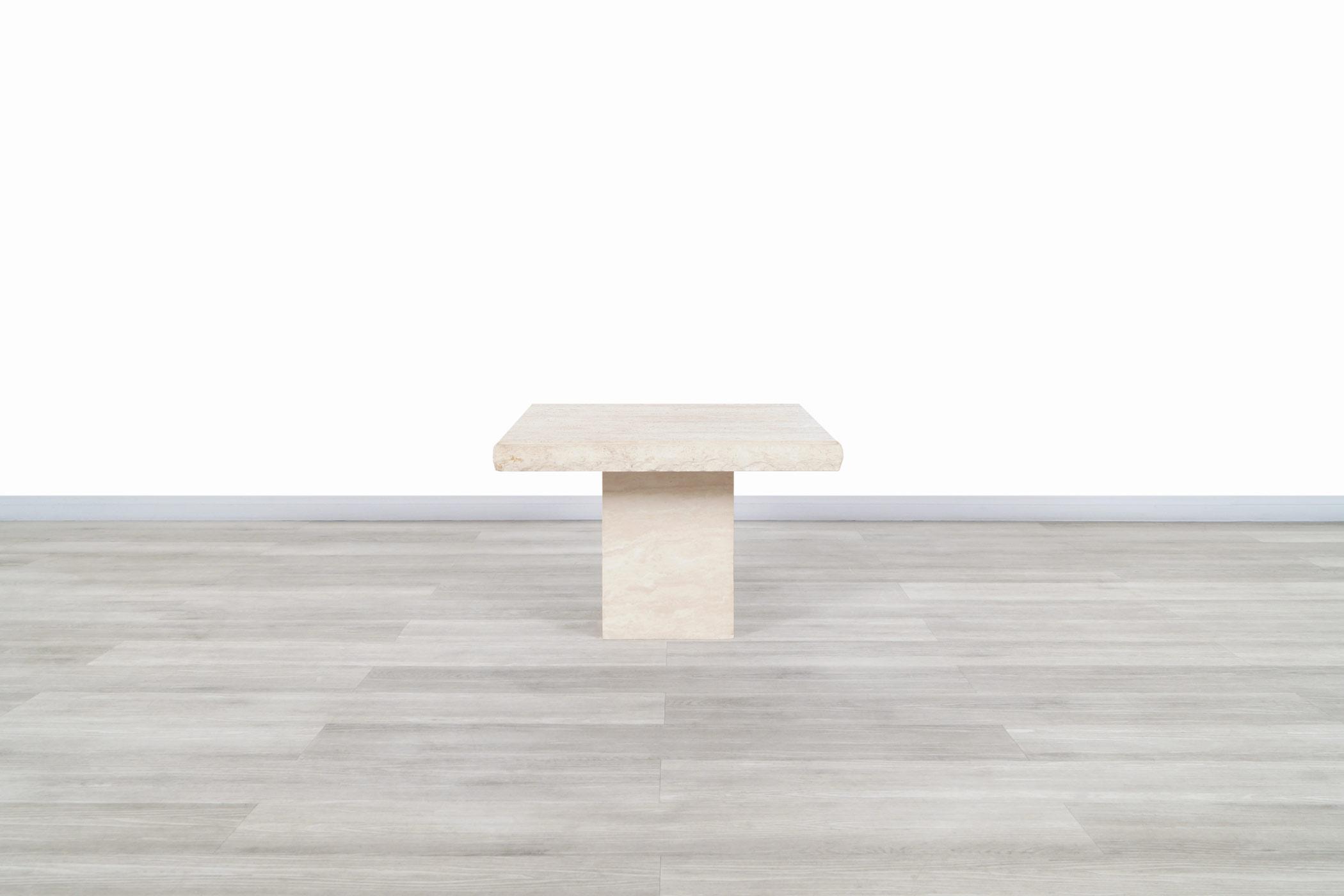 Vintage Italian Live Edge Travertine Side Tables